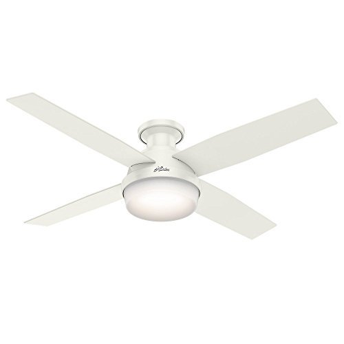 Hunter 59242 Dempsey Low Profile Fresh White Ceiling Fan With Light & Remote