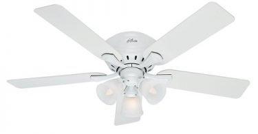Hunter 53011 Reinert Snow White Ceiling Fan with Light