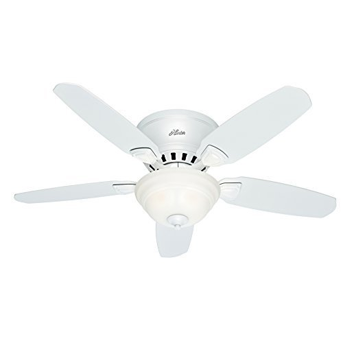 Hunter Louden 46-in White Flush Mount Indoor Ceiling Fan with Light Kit