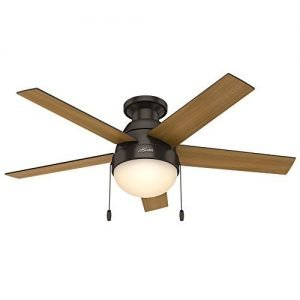 Hunter 59268 Anslee Low Profile Premier Bronze Ceiling-Fan With Light