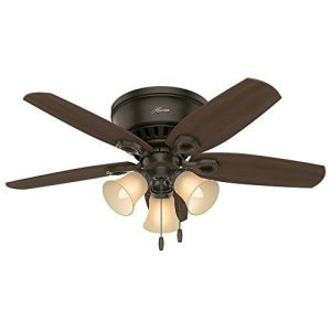 Hunter 51091 42-inch Builder Low Profile New Ceiling Fan with Light, Bronze