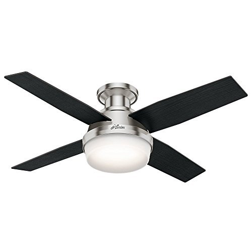 Hunter 59243 Dempsey Low-Profile With Light Brushed Nickel Ceiling Fan