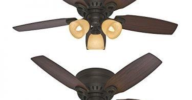 Set of 2 Hunter Hatherton 46-in Flush Mount Ceiling Fan with Light Kit