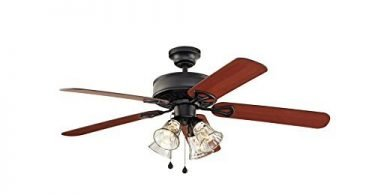 Harbor Breeze Springfield Ii Matte-Black Downrod Flush Mount Ceiling Fan
