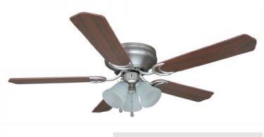 Hardware-House 17-4985 Satin Nickel Flush Mount Ceiling Fan w Light-Kit