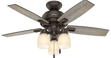 Hunter 52228 Casual Donegan 3 Light Onyx Bengal Ceiling Fan With Light
