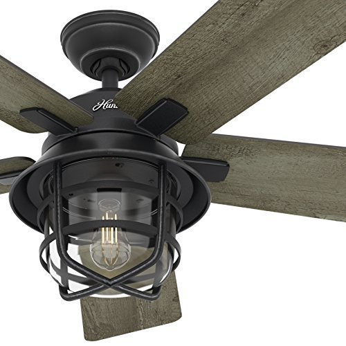 Hunter 54 Inch Weathered Zinc Outdoor Ceiling Fan Flush